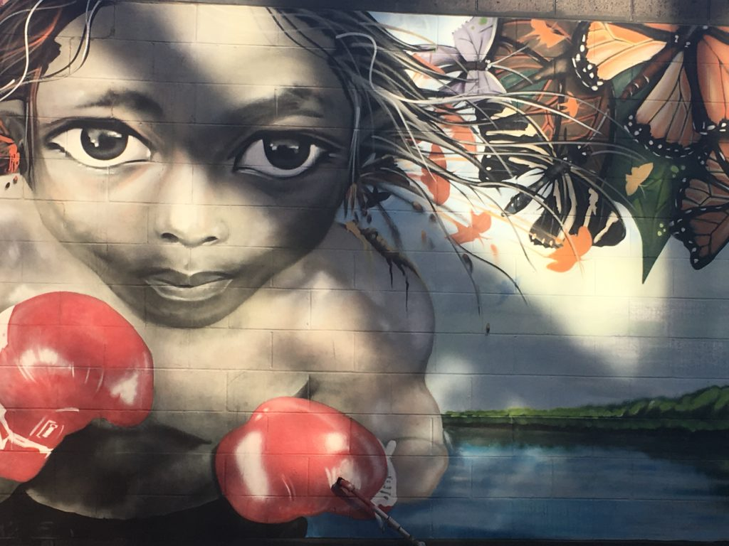 A photo of Mural by street artist Sheepman, on the back walls of the shopping center where Rogue Motion Used Boats currently resides.