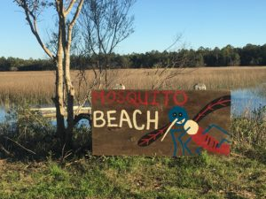 Mosquito Beach sign. Photo by Sandra Stringer.