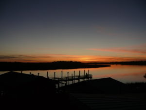 The view from the deck of Bowen's Island Restaurant at sunset. Photo by Sandra Stringer.