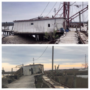 Backman's dock, before and after Hurricane Matthew.