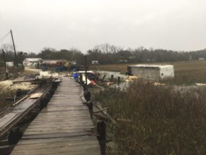 Damage from a suspected tornado on January 21, 2017. Pictured is a view looking back towards land and Backman's facility. To the right is a 40' long oyster cooler (shipping container) that was tossed 100' across the causeway from its original location which was the concrete pad to the left of the dock. Photo by Thomas Ambrose Bierce.