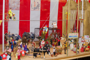 Alice Zinn's miniature circus at the Memories Miniature Museum features high wire cyclist, elephants and tiger tamer.