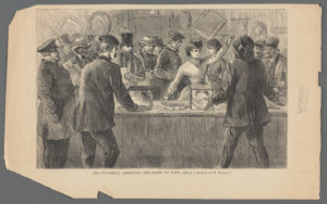 """The Miriam and Ira D. Wallach Division of Art, Prints and Photographs: Print Collection, The New York Public Library. """"Mrs. Woodhull asserting her right to vote"""" The New York Public Library Digital Collections. 1870 - 1875. http://digitalcollections.nypl.org/items/b7c260b0-1ea6-0133-6f8d-58d385a7b928"""