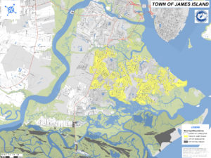 Map of James Island showing areas that are unincorporated, are part of the Town of James Island, and part of the City of Charleston.