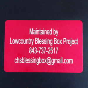 Lowcountry Blessing Box Project can be reached at 843-737-2517 or chsblessingbox@gmail.com