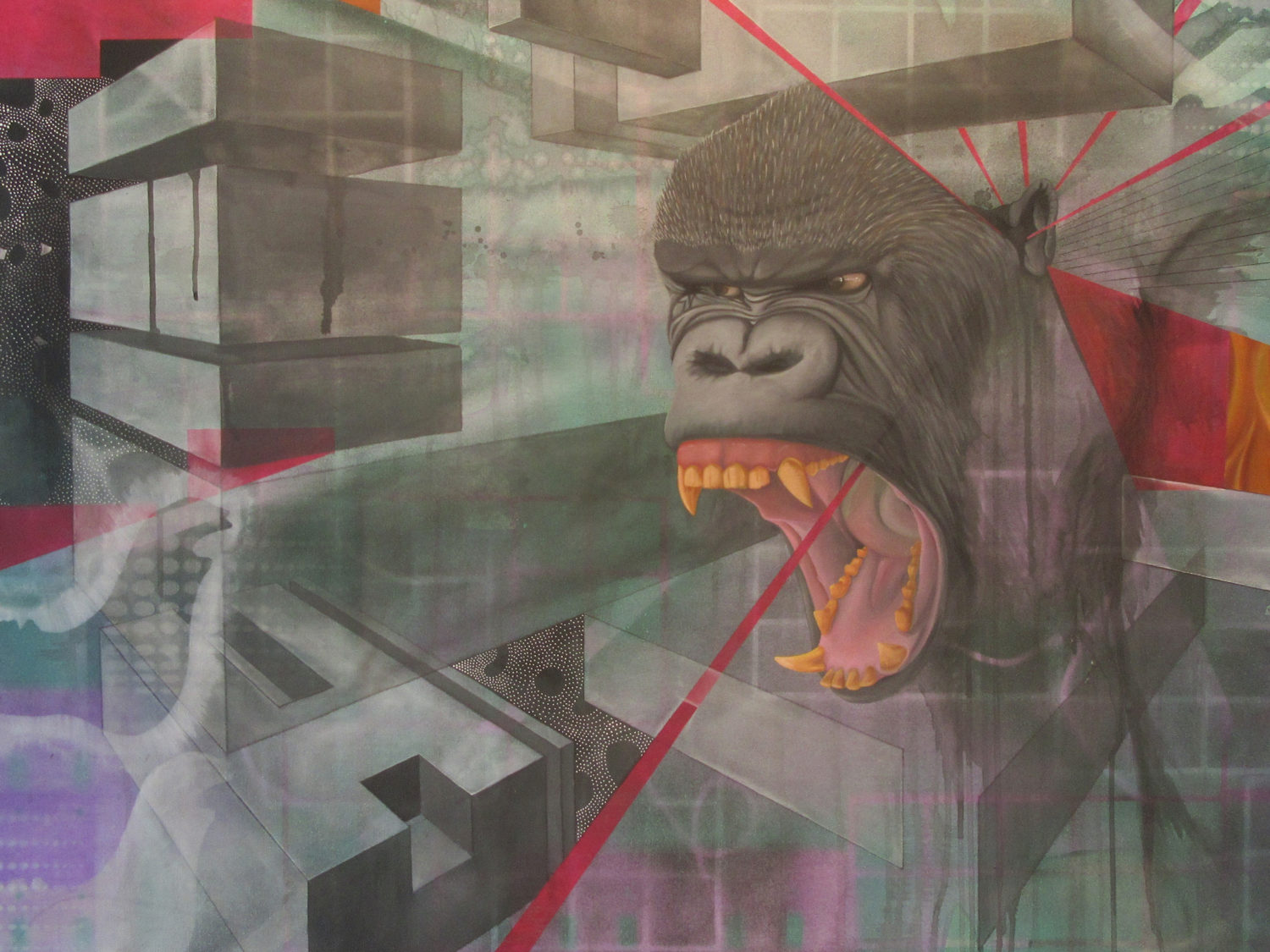 Art by Gabriel Lovejoy from Positional Ambivalence showing gorilla howling