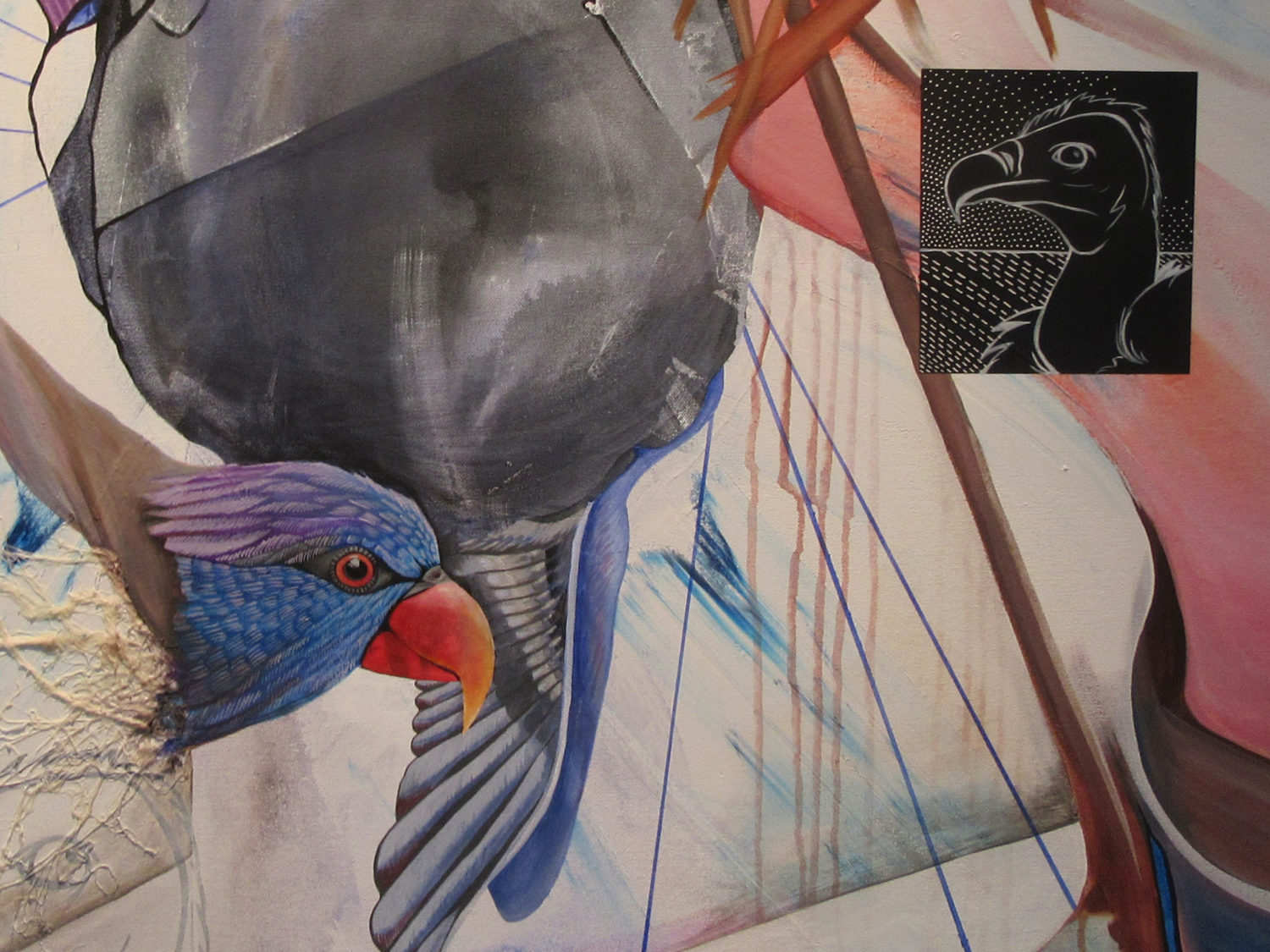 Art by Gabriel Lovejoy from Positional Ambivalence showing parrot and vulture