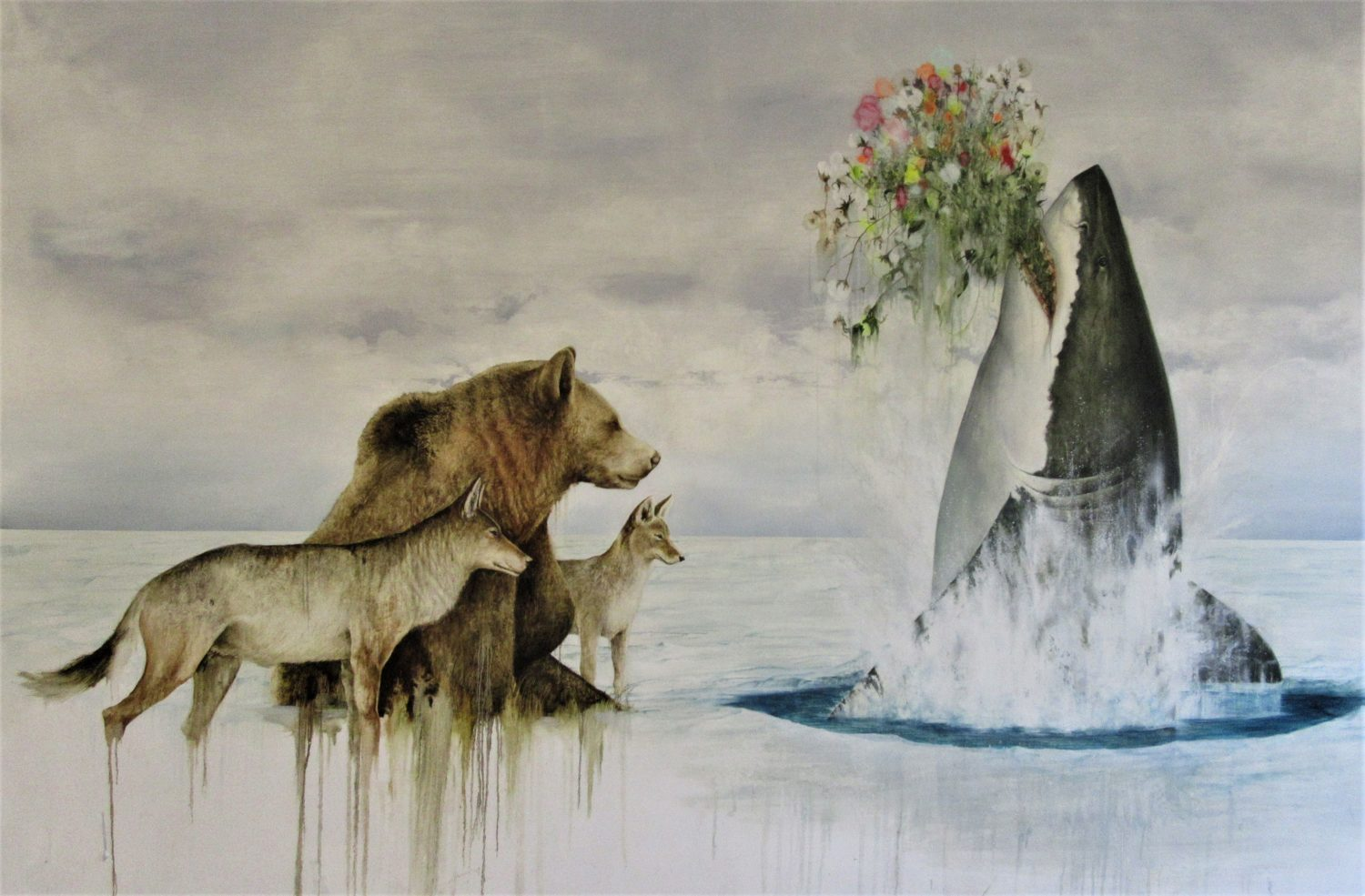 Painting by Kevin Earl Taylor showing animals and a shark with flowers in its jaws