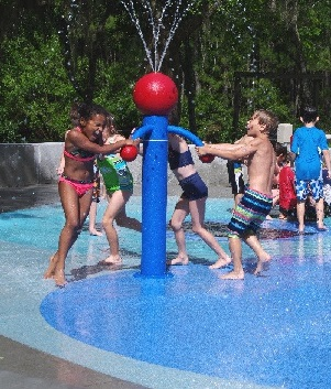 Kids playing at water park