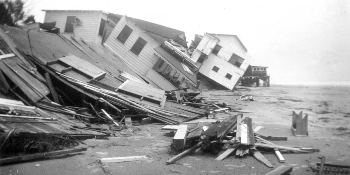 Photo from damage to homes on Folly Beach, unnamed storm, probably 1940.