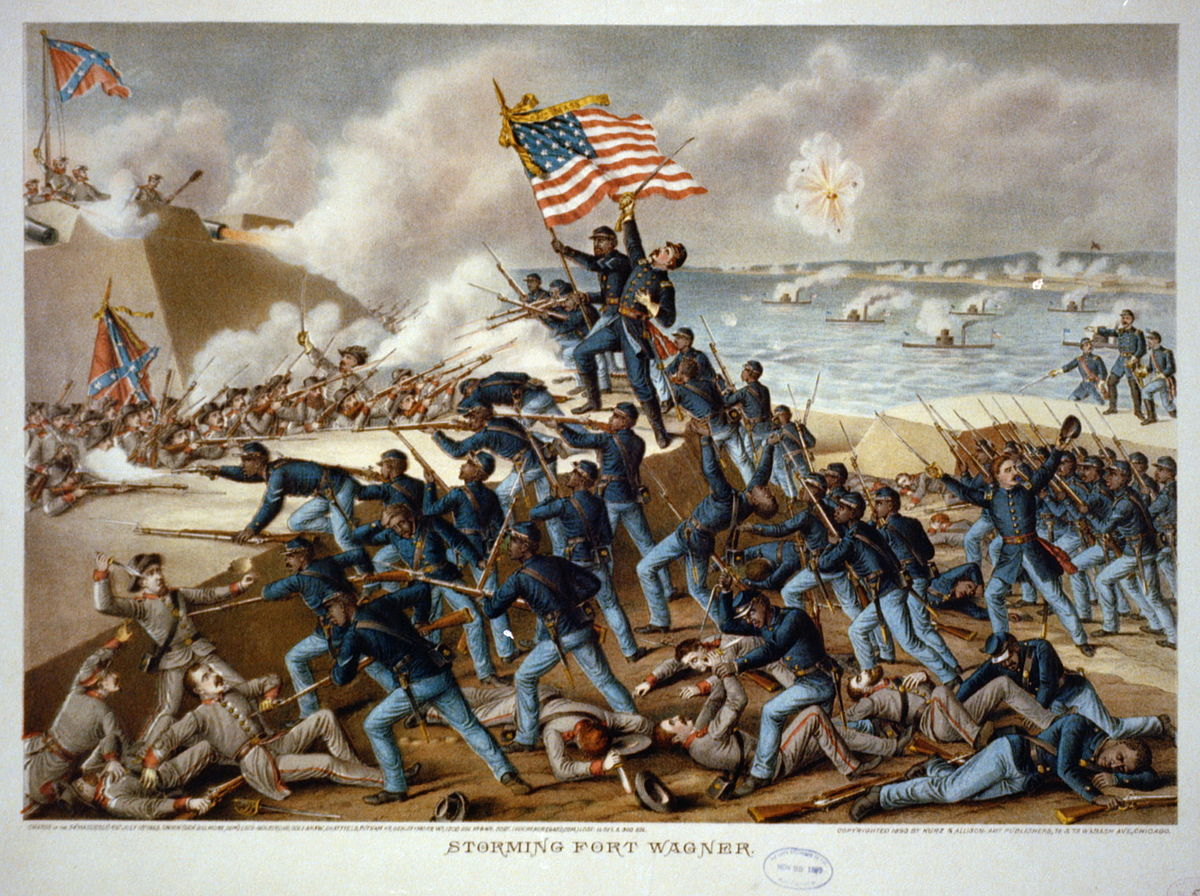 The storming of Ft. Wagner by 54th Regiment Massachusetts Volunteer Infantry. This media file is in the public domain in the United States. This applies to U.S. works where the copyright has expired, often because its first publication occurred prior to January 1, 1923.