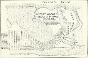Map of the charge of the 54th Massachusetts. This work is in the public domain in its country of origin and other countries and areas where the copyright term is the author's life plus 100 years or less.