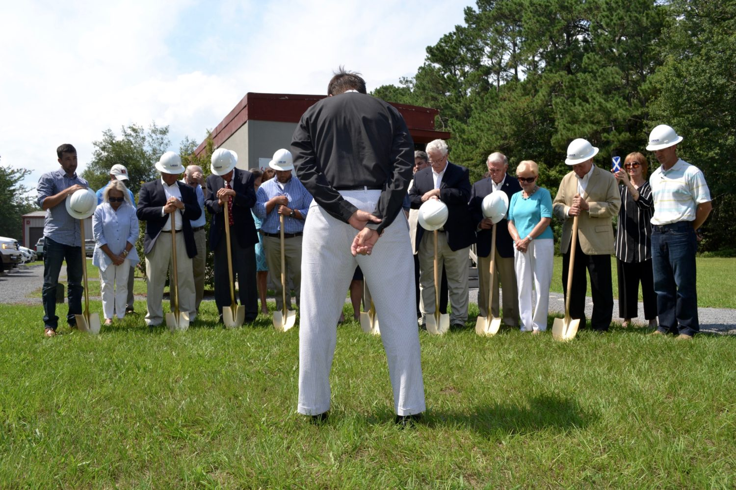 Groundbreaking Blessing to Clinic Board, Staff, and Construction members, Blessing delivered by Fr. Marshal Huey