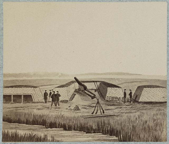 The Swamp Angel Battery from drawing. From the Library of Congress. http://www.loc.gov/pictures/resource/ppmsca.35186/