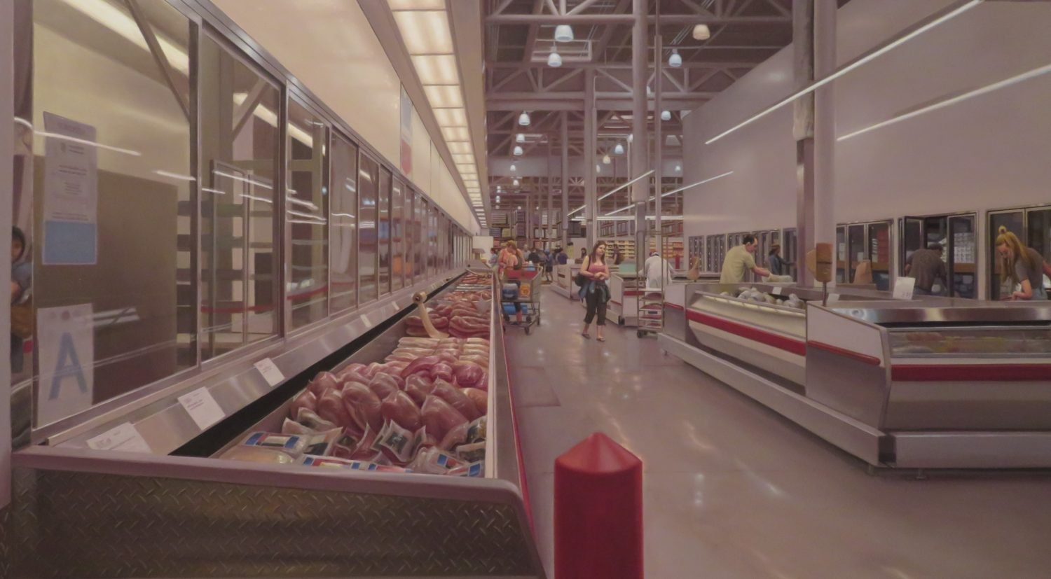 Painting of interior of a grocery store by Marc Trujillo