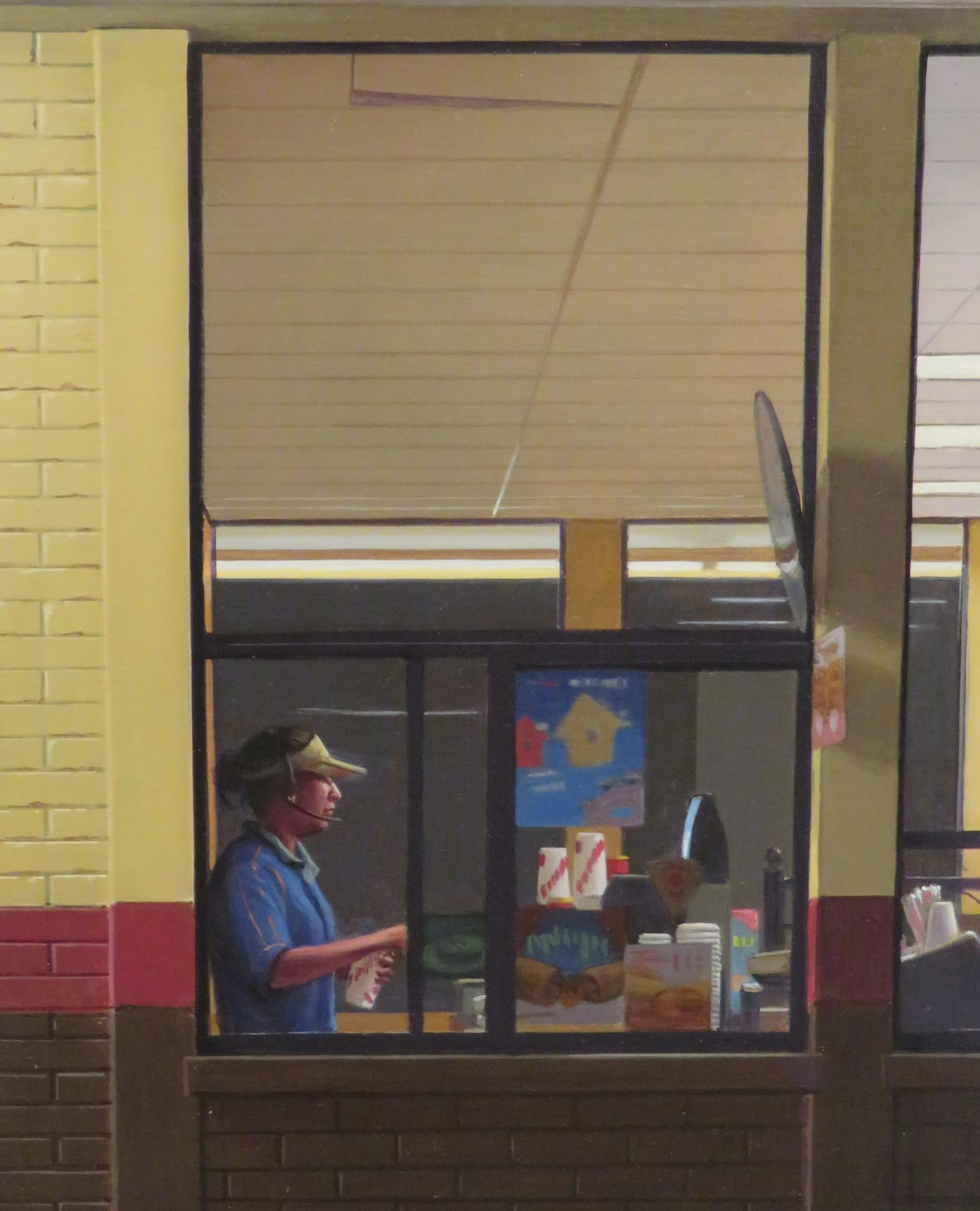 Painting of a cashier at a fast food restaurant by Marc Trujillo