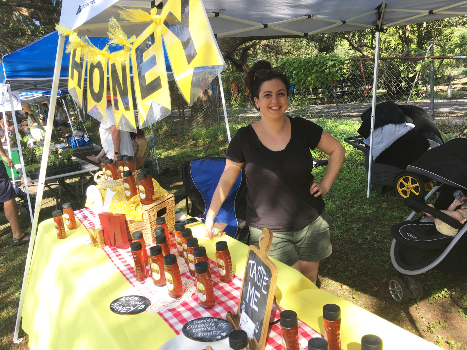 Local honey being sold at the Town Market on James Island.