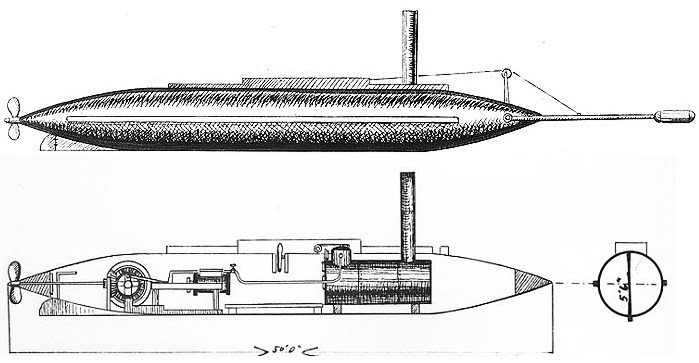 Pen-and ink drawing of CSS David, showing external and internal plan. From Wikipedia: https://en.wikipedia.org/wiki/CSS_David#/media/File:CSS_David_drawing.jpg