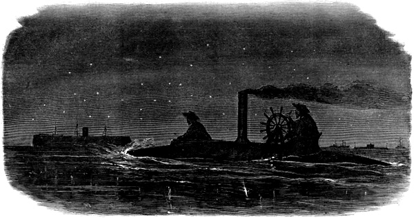 The torpedo boat CSS David rides stealthily in to attack the blockader New Ironsides. The exploit took place off Charleston on the night of October 5, 1863. David was commanded by Lt. William T. Glassell, CSN. Harper's Weekly, A Journal of Civilization. From Wikipedia. https://en.wikipedia.org/wiki/Attack_on_USS_New_Ironsides#/media/File:Css_david_attack_1.jpg