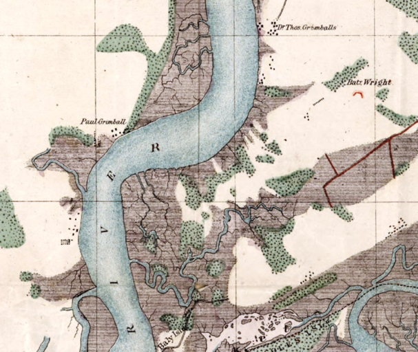 1858 map of the Stono River created by the United States Coastal Survey showing the Thomas Grimball farm on James Island, Paul Grimball farm on Johns Island, Legare Point Place just south of Paul Grimball's, and Battery Island further south on James Island. Library of Congress.