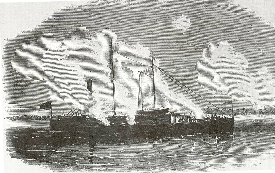 The Isaac P. Smith dead in the water from a sketch in Leslie's Illustrated Newspaper, February 28, 1863.