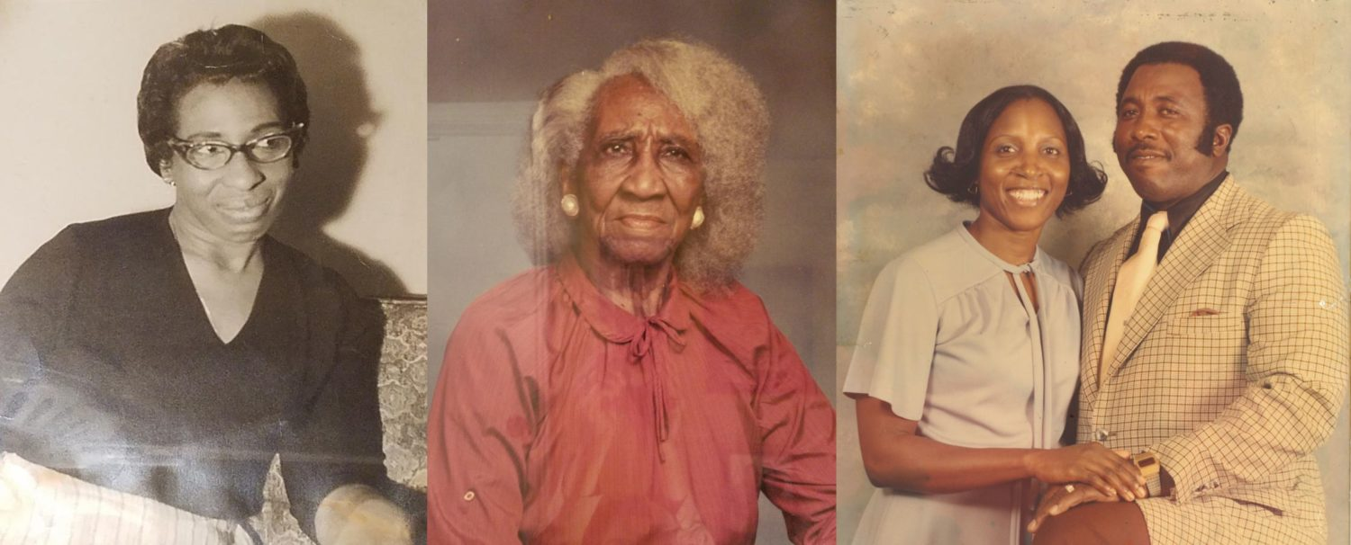 """Left: Janie Roper, Emily Smalls' mother. Middle: Mary Roper a.k.a. """"Miss Feedie"""". Right: Emily and Nathaniel Smalls, Sr."""