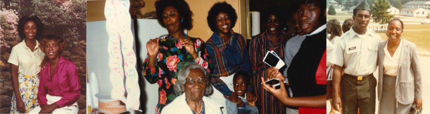 """Left: Emily Smalls' children, Nathaniel Smalls, Jr. and Cynthia Smalls. Middle: Mary Roper a.k.a. """"Miss Feedie"""" with family. Right: Cynthia and her mother Emily Smalls."""