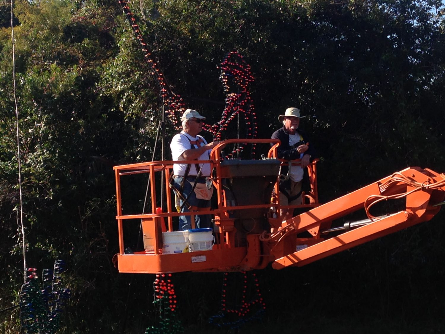 Staff working on light display at James Island County Park Festival of Lights.