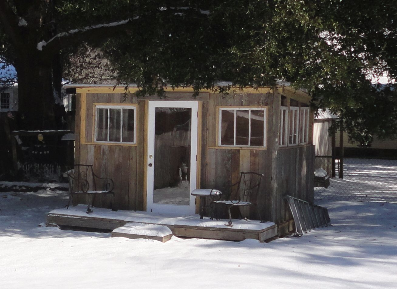 Gloria Sherman's shed made from salvage.